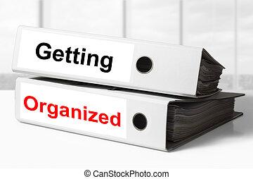 escritório, pastas, obtendo, organizado