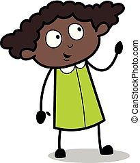 escritório, pensando, -, ilustração, vetorial, pretas, retro, menina, desenho conversa animado, antes de
