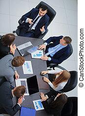 escritório, pessoas negócio, modernos, reunião placa, tendo