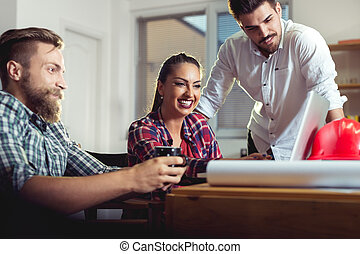 escritório, pessoas negócio, reunião equipe, tendo
