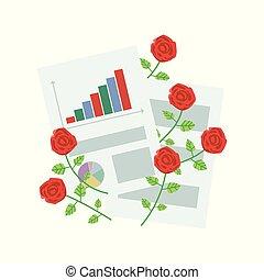 escritório, rosas, papel, folhas, branca, composição, vermelho