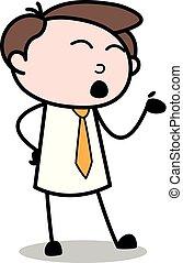 escritório, -, rosto, falando, enquanto, vetorial, illustration?, fazer, empregado, homem negócios, caricatura