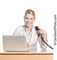 escritório, sentando, executiva, handset, jovem, telefone, escrivaninha