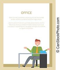 escritório, sentando, trabalhador, frente, tabela, cadeira