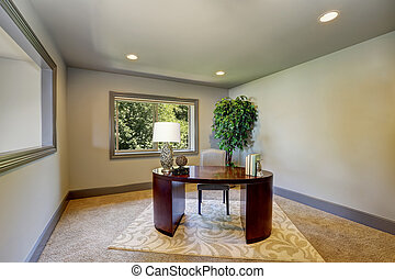 escritório, simples, borgonha, escrivaninha madeira, interior, lar