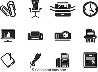 escritório, simplesmente, ícones