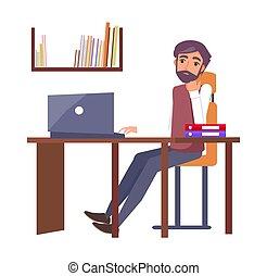 escritório, sonhar, computador, local trabalho, digitando, homem