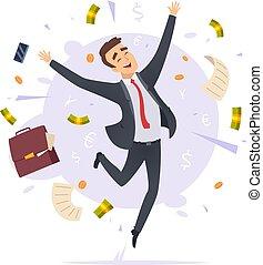 escritório, sucedido, proffesional, pular, jovem, gerente, vetorial, businessman., ilustrações, macho, caricatura, feliz