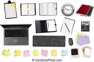 escritório, supplies., negócio