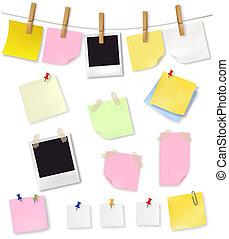 escritório, supplies., papeis, nota