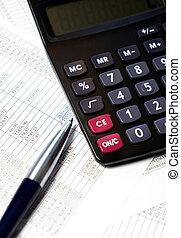 escritório, tabela, com, calculadora, caneta, contabilidade, documentos