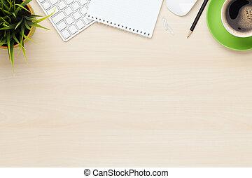 escritório, tabela, com, notepad, computador, e, xícara café