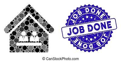 escritório, textured, ícone, gerência, mosaico, feito, selo, trabalho