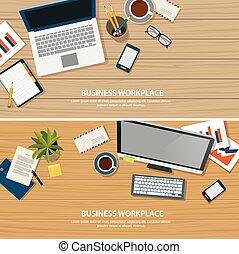 escritório, topo, madeira, local trabalho, tabela, vista