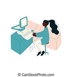 escritório, trabalhando, doutor, africano, personagem, ilustração, uniforme, americano, vetorial, computador, femininas, escrivaninha, medicina, profissional