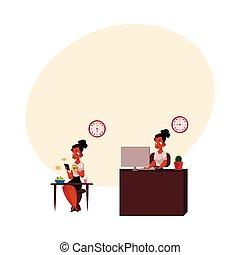 escritório, trabalhando, executiva, computador, africano, pretas, tendo, pequeno almoço