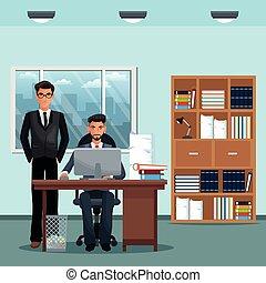 escritório, trabalhando, homens, livros, lugar, lata, escrivaninha, lixo, mobília