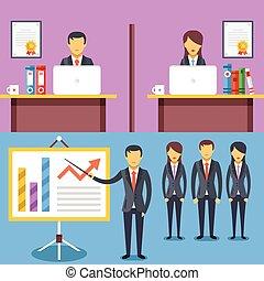escritório, trabalhando, reunião negócio