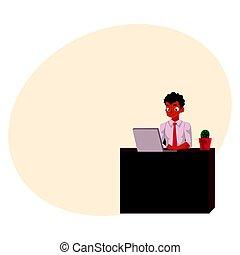escritório, trabalhando, sentando, pretas, americano, computador, africano, homem negócios