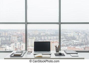escritório., trabalho, laptop., confortável, caderno, local...