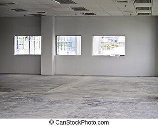 escritório, vazio, interior