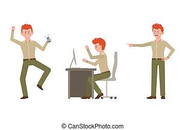escritório, vermelho, apontar, tabela, trabalhador, dedo, caricatura, nervosa, vetorial, agressivo, verde, calças, zangado, personagem, cabelo, illustration., homem, jogo