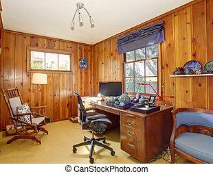 escritório, walls., tradicional, madeira, lar, painel