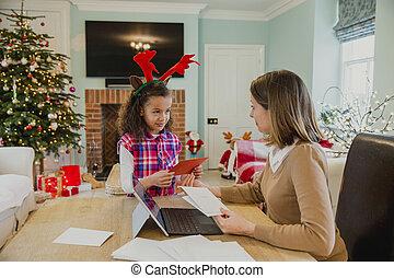 escrita, cartões natal, com, mum