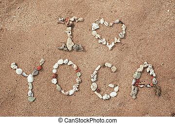 escrita, com, conchas, texto, ioga, ligado, praia