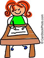 escrita, criança