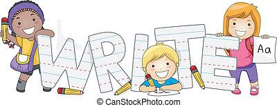 escrita, crianças