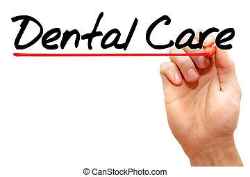 escrita, cuidado dental, mão, conceito