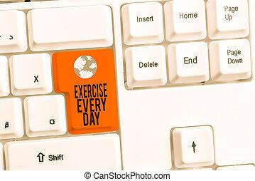 escrita, foto, saudável, showcasing, nota papel, branca, adquira, cada, movimento, mostrando, ajustar, day., acima, negócio, experiência., energeticamente, exercício, corporal, ordem, pc, teclado