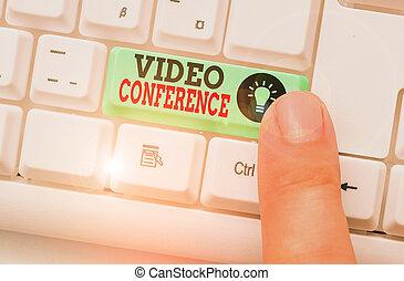 escrita, lugares, negócio, texto, ter, vídeo, conference., mostrando, facetoface, palavra, meetings., conceito, remoto