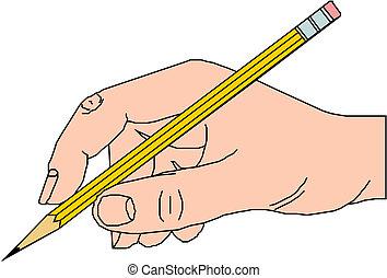 escrita, mão