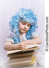escrita, menina, pequeno, livro, cabelo azul