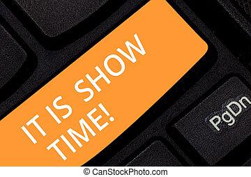 escrita, nota, mostrando, aquilo, é, mostrar, time.,...