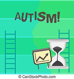 escrita, nota, mostrando, autism., negócio, foto, showcasing, autism, consciência, conduzido, por, social, comitê, ao redor, globo, mapa crescimento, com, seta, subir, e, ampulheta, areia, sliding.