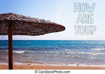 escrita, nota, mostrando, como, é, tu, question., negócio, foto, showcasing, seu, saúde, estado, pedir, aproximadamente, seu, vida, e, saúde, azul, areia praia, mensagem, idéia, guarda-sol, água, céu, natural, paisagem.