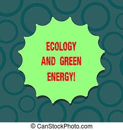 escrita, nota, mostrando, ecologia, e, verde, energy., negócio, foto, showcasing, meio ambiente, proteção, reciclagem, reúso, ecológico, em branco, selo, com, sombra, para, etiqueta, emblema, monogram, selo, topo, quality.