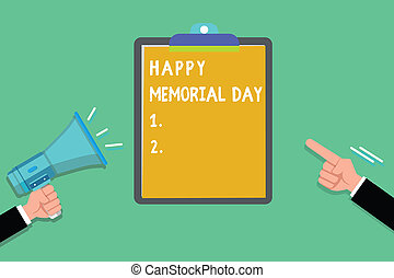 escrita, nota, mostrando, feliz, memorial, day., negócio, foto, showcasing, honrando, lembrar, esses, quem, morrido, em, militar, serviço