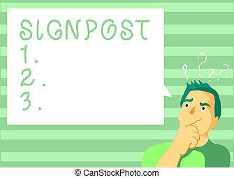escrita, nota, mostrando, signpost., negócio, foto, showcasing, sinal, dar, informação, tal, direção, e, distância, perto, cidade
