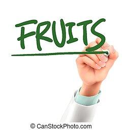 escrita, palavra, doutor, frutas