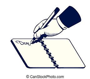 escrita, retro, mão