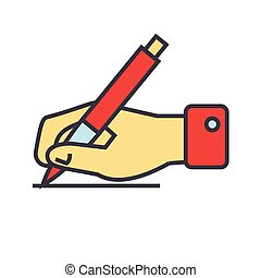 escrita, sinal, mão, com, caneta, concept., linha, vetorial, icon., editable, stroke., apartamento, linear, ilustração, isolado, branco, fundo