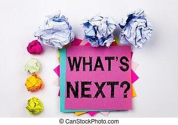 escrita, texto, mostrando, pergunta, é, logo, escrito, ligado, nota pegajosa, em, escritório, com, parafuso, papel, balls., conceito negócio, para, que, é, logo, self-development, melhoria, perguntas