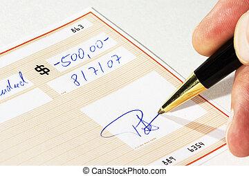 escrita, um, cheque banco