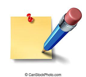 escrita, um, ligado, um, em branco, escritório, nota, com, um, azul, lápis