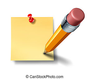 escrita, um, ligado, um, em branco, escritório, nota, com, um, lápis