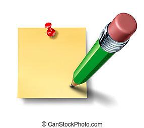 escrita, um, ligado, um, em branco, escritório, nota, com, um, verde, lápis